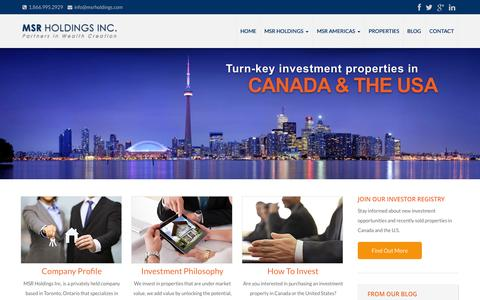 Screenshot of Home Page msrholdings.com - MSR Holdings Inc. – Your Partners in Wealth Creation - captured Jan. 23, 2015
