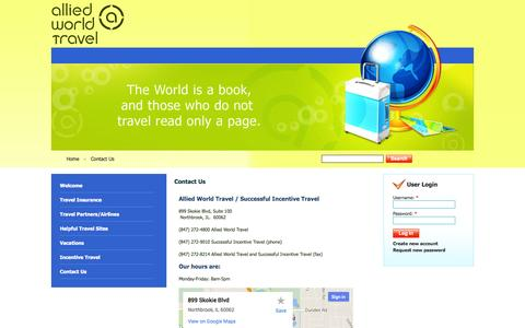 Screenshot of Contact Page alliedworldtravel.com - Contact Us | Allied World Travel - captured Sept. 30, 2014