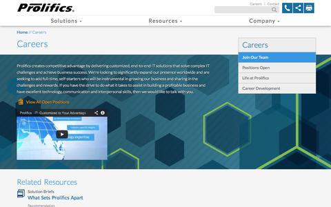 Screenshot of Jobs Page prolifics.com - Careers | Prolifics - captured Sept. 25, 2014