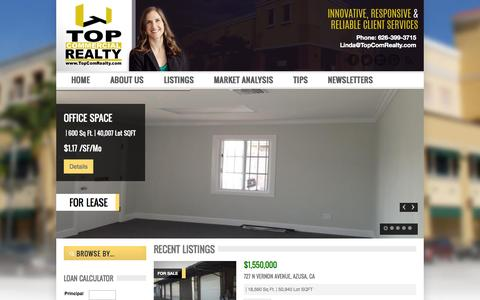 Screenshot of Home Page topcomrealty.com - Top Commercial Realty - captured Jan. 26, 2015