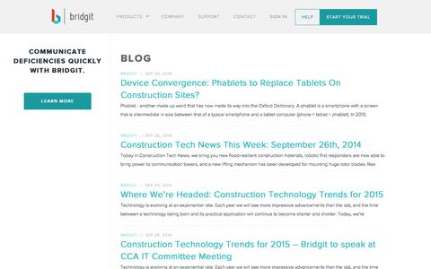 Screenshot of Blog gobridgit.com - Bridgit - Blog - captured Oct. 5, 2014