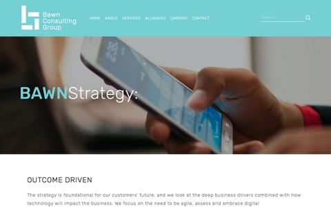 Screenshot of Services Page bawn.com.au - Strategy | Corporate ICT | Melbourne Sydney Brisbane Hobart — Bawn Consulting Group | Consulting Technology Apps - captured Oct. 5, 2018
