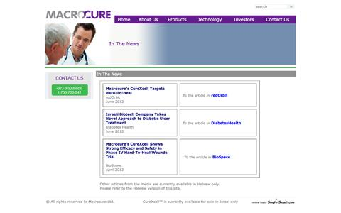 Screenshot of Press Page macrocure.com - Macrocure Ltd. - In The News - captured Sept. 16, 2014