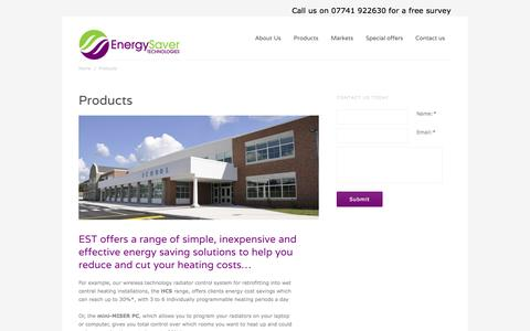 Screenshot of Products Page energysavertechnologies.com - Products - Energy Saver Technologies - captured Oct. 2, 2014