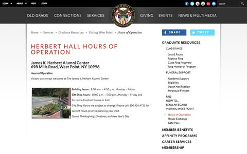 Screenshot of Hours Page westpointaog.org - West Point Association of Graduates - captured Oct. 26, 2014