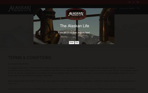 Screenshot of Terms Page alaskanbeer.com - Terms & Conditions | Alaskan Brewing Co. - captured Feb. 5, 2016