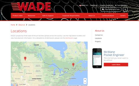 Screenshot of Locations Page wadedrains.ca - Locations | WADE Canada - captured Oct. 18, 2017