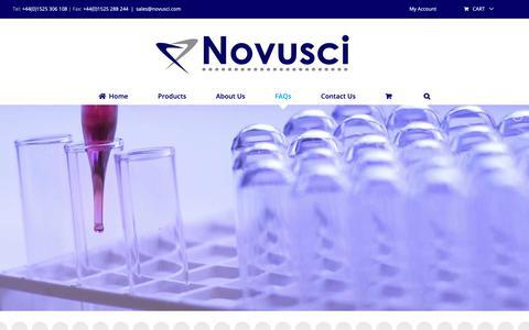 Screenshot of FAQ Page novusci.com - FAQs - Novusci - Scientific Consumables/Equipment - captured Oct. 20, 2018
