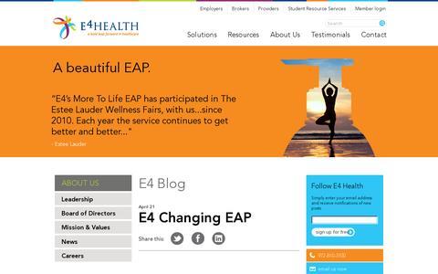 Screenshot of Press Page e4healthinc.com - Blog | E4 Health - captured July 19, 2014