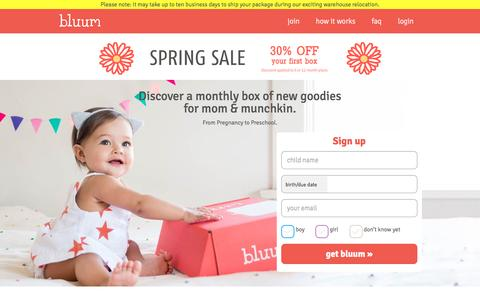 Screenshot of Home Page bluum.com - A monthly box of new goodies for mom & baby - captured May 29, 2017