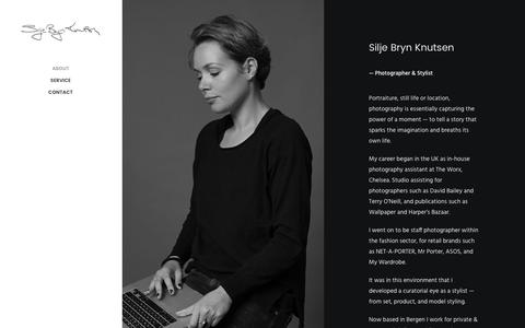 Screenshot of About Page sbkphotography.com - About – Silje Bryn Knutsen Photography - captured July 19, 2016