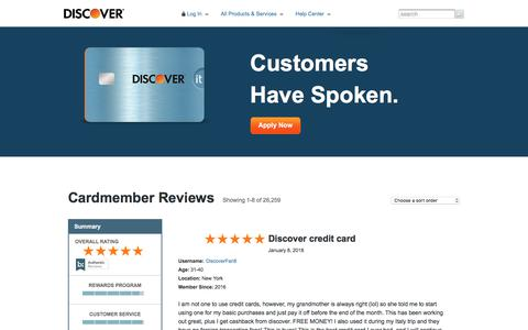 Credit Card Review | Cardmember Feedback | Discover