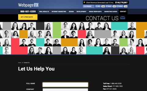 Screenshot of Contact Page webpagefx.com - WebpageFX Address & Phone Number: Contact Us - captured Oct. 26, 2014