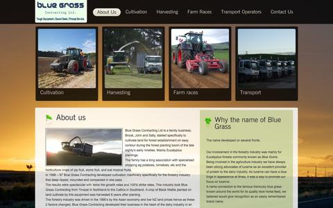 Screenshot of About Page bluegrasscontracting.co.nz - Blue Grass Contracting Ltd | Cultivation, Harvesting, Farm Races | Matamata, NZ - captured Oct. 5, 2014