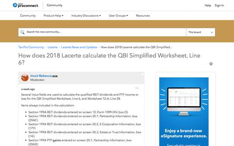Screenshot of Press Page intuit.com - How does 2018 Lacerte calculate the QBI Simplified... - Tax Pro Community - captured Nov. 21, 2019