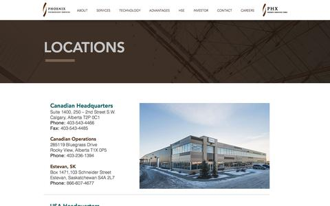 Screenshot of Locations Page phxtech.com - Phoenix Technology Services - captured July 31, 2017