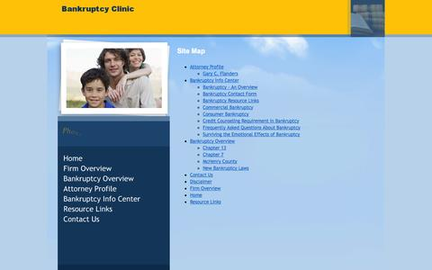 Screenshot of Site Map Page bankruptcylegalclinic.com - Site Map | Bankruptcy Clinic - captured Oct. 2, 2014