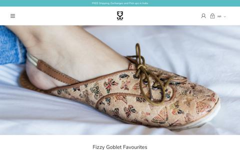 Screenshot of Home Page fizzygoblet.com - Fizzy Goblet - Home Of Handcrafted Footwear (Juttis, Sneakers & More) - captured Feb. 20, 2020