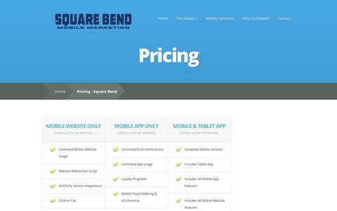 Screenshot of Pricing Page squarebend.com - Pricing - Square Bend | Square Bend - captured Oct. 7, 2014