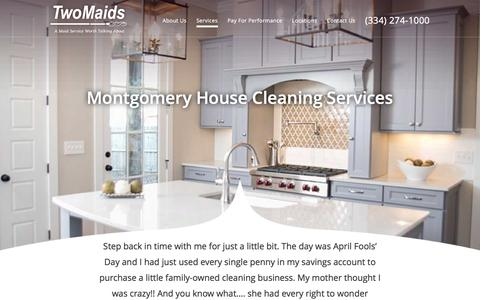 Screenshot of Services Page twomaidsmontgomery.com - Montgomery House Cleaning Services | Two Maids & A Mop Montgomery - captured Feb. 16, 2016