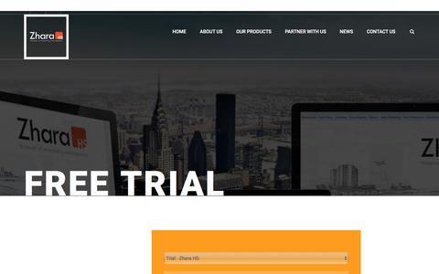 Screenshot of Trial Page zharahs.com - Free Trial - Zhara HS - captured Jan. 29, 2017