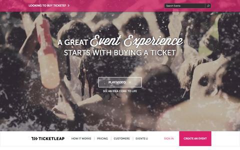 Screenshot of Home Page ticketleap.com - Sell Tickets Online: Event Registration, Ticketing & Marketing - captured Jan. 14, 2015