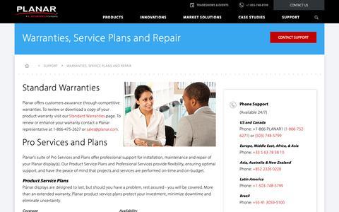 Screenshot of Services Page planar.com - Warranties, Service Plans and Repair | Planar - captured Nov. 20, 2018