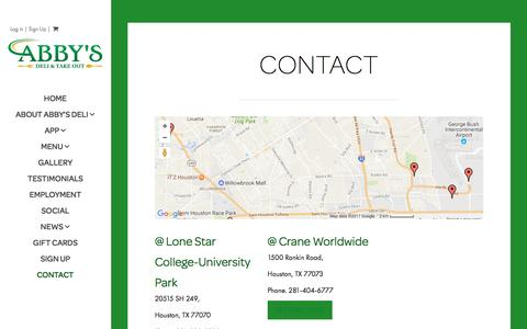 Screenshot of Contact Page abbysdeli.com - Contact - Abby's Deli - captured May 29, 2017