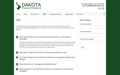 Screenshot of FAQ Page dakotafinance.co.uk - FAQ's | Dakota Finance - captured Oct. 27, 2014