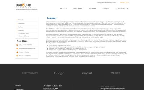 Screenshot of About Page unboundcommerce.com - Company - Unbound Commerce Inc. - captured Sept. 22, 2014