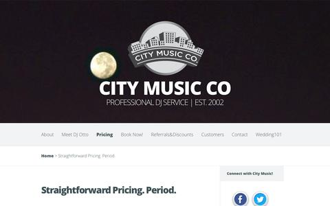 Screenshot of Pricing Page citymusic.us - Straightforward Pricing. Period. | City Music Co - captured Oct. 27, 2014