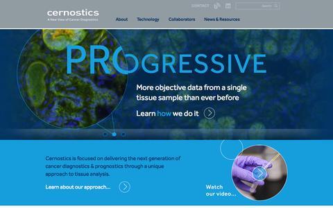 Screenshot of Home Page cernostics.com - Cernostics   Next Generation Cancer Diagnostics - captured Jan. 14, 2015