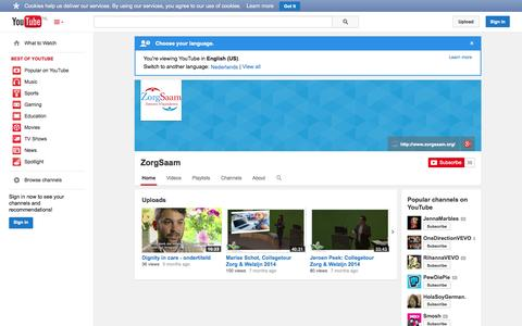 Screenshot of YouTube Page youtube.com - ZorgSaam  - YouTube - captured Oct. 26, 2014