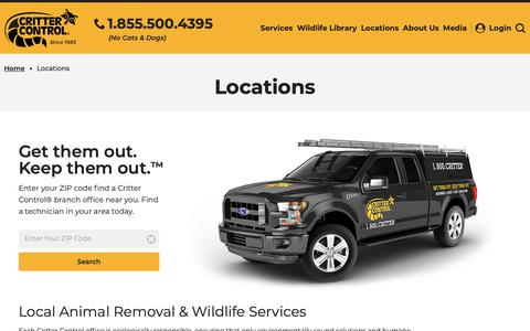 Screenshot of Locations Page crittercontrol.com - Local Animal Removal & Wildlife Services Near You - captured May 6, 2019