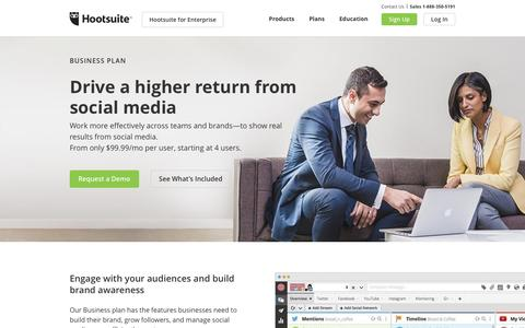 Screenshot of Trial Page hootsuite.com - Hootsuite Business - Pricing and Plans - captured March 10, 2017