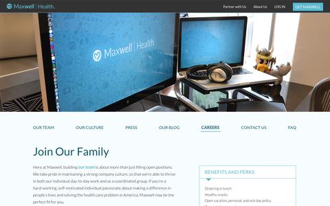 Screenshot of Jobs Page maxwellhealth.com - Maxwell Health - The future of benefits, now - captured July 14, 2016