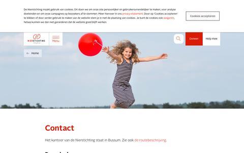 Screenshot of Contact Page nierstichting.nl - Contact - Nierstichting - captured July 18, 2019