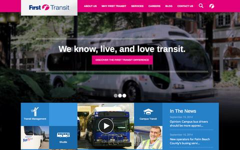 Screenshot of Home Page firsttransit.com - First Transit Bus Service Solutions Company - captured Sept. 30, 2014