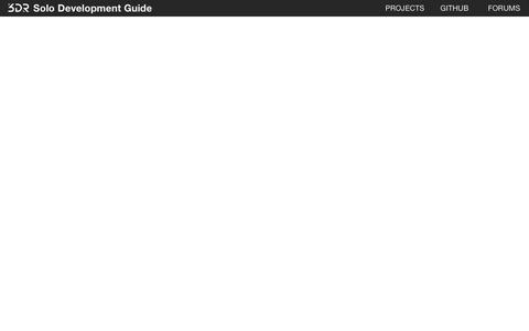 Screenshot of Developers Page 3dr.com - Introduction | 3DR Solo Development Guide - captured June 25, 2016