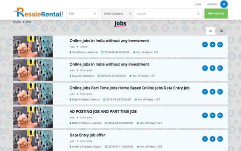 Screenshot of Jobs Page resalerental.com - Jobs Ads List | FREE Jobs Advertising - captured Sept. 20, 2018