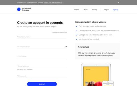 Screenshot of Trial Page soundtrackyourbrand.com - Sign up | Soundtrack Business - captured April 10, 2018