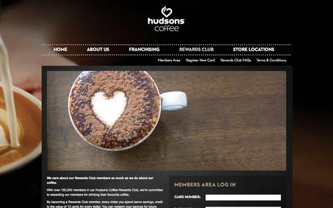 Screenshot of Login Page hudsonscoffee.com.au - Rewards Club | Hudsons Coffee - captured Sept. 30, 2014