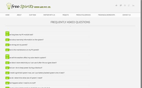 Screenshot of FAQ Page freespirits.in - FAQs | free Spirits Green Labs - captured Oct. 6, 2014