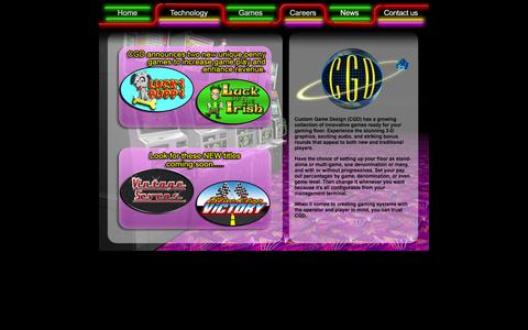 Screenshot of Home Page cgd-inc.com - Custom Game Design, Inc. – Server-based gaming, Central Determinant Systems - captured Oct. 3, 2014