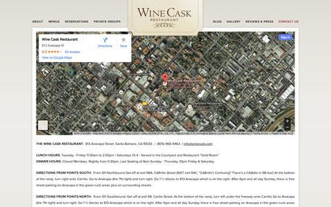Screenshot of Contact Page winecask.com - Contact Us | Wine Cask Restaurant - captured Oct. 26, 2014