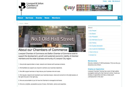 Screenshot of About Page liverpoolchamber.org.uk - About - Liverpool Chamber of Commerce - captured Oct. 2, 2014