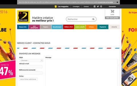 Screenshot of Contact Page dalbe.fr - Contactez-nous - Dalbe - Fournitures beaux arts, peinture, dessin et loisirs créatifs - captured Jan. 15, 2016