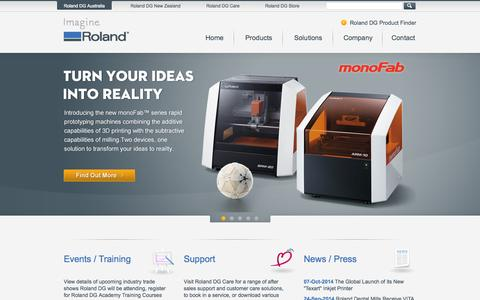 Screenshot of Home Page rolanddg.com.au - Roland DG - Wide Format Printers, Printer-Cutters, Vinyl Cutters, Engravers, 3D Milling Devices - captured Oct. 9, 2014