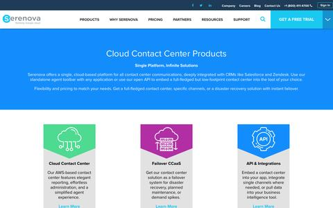 Screenshot of Products Page serenova.com - Products   Cloud Contact Center Applications by Serenova (formerly liveops cloud) - captured Dec. 6, 2016