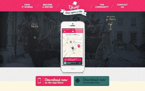 Screenshot of Home Page djump.in - Djump: Social Ridesharing - captured Sept. 22, 2014